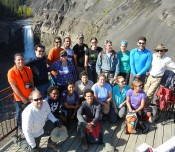 FRAC students and staff with industry participants at Ram River Falls, Alberta, Canada, September 2013.