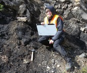Autumn Eakin mapping fracture patterns in Alberta, Canada, July 2010.