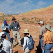 Field lecture to industry participants at Valley of Fire, Nevada, October 2007.