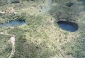 Aerial view of El Zacaton (left) and the resurgence of Nacimiento.