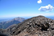 View from the summit of West Spanish Peak toward East Spanish Peak during a day off from field work in the summer of 2014.