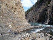 Esti Ukar and Jon Major collecting structural data at Ram Falls, Alberta, Canada,