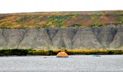 Cook tent and fall tundra colors, Colville River, North Slope - Alaska.